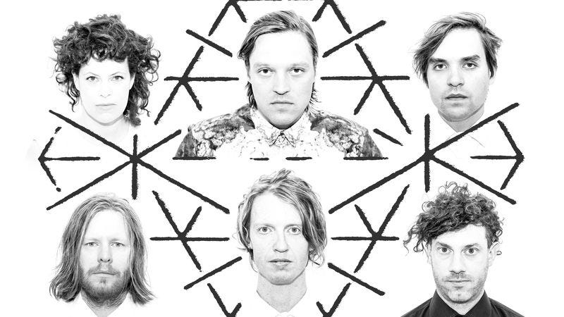 Butler, top center, with the rest of Arcade Fire