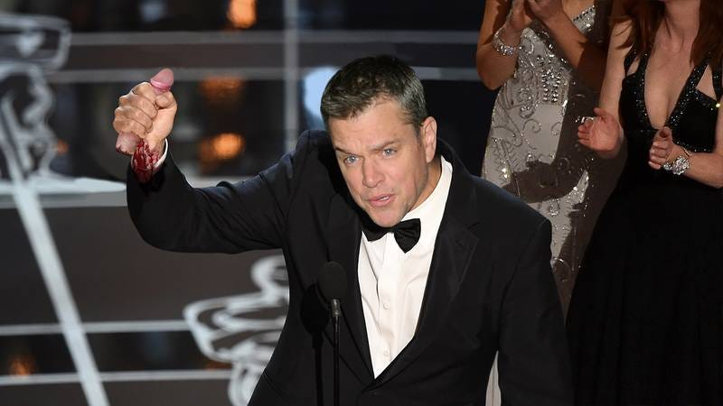 Illustration for article titled We Get It, You're An Ally: Matt Damon Went Totally Overboard At The Oscars When He Ran On Stage Holding Harvey Weinstein's Severed Penis To Support The #MeToo Movement
