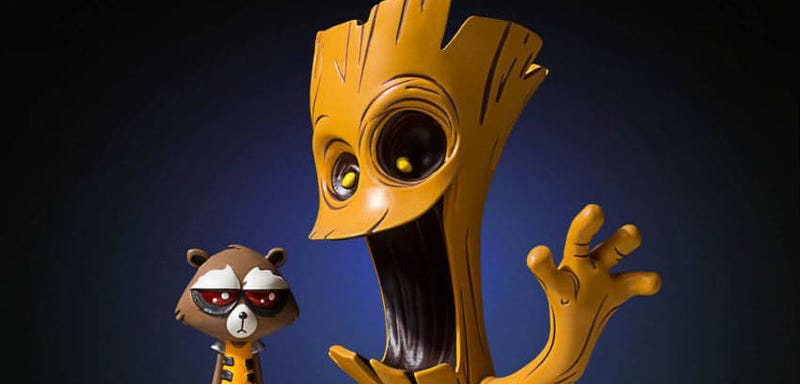 Illustration for article titled This Statue of Guardians of the Galaxy's Groot and Rocket Is Completely Precious