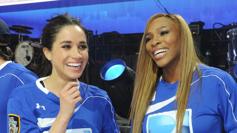 (L-R) Meghan Markle and Serena Williams participate in the DirecTV Beach Bowl on February 1, 2014 in New York City.