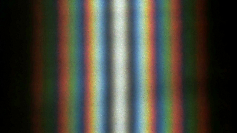 A double-slit diffraction pattern produced by sunlight.