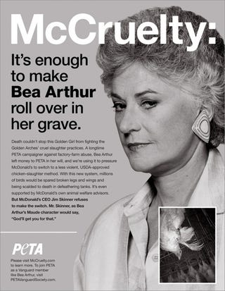 Illustration for article titled Bea Arthur's Posthumous PETA Ad