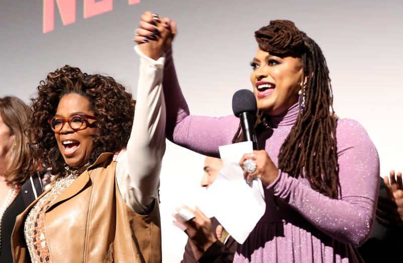 "Oprah Winfrey and Ava DuVernay onstage during the World Premiere of Netflix's ""When They See Us"" on May 20, 2019 in New York City."