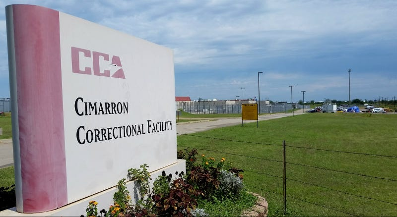 Cimarron Correction Facility, a private prison run by CCA in Oklahoma. Four inmates were stabbed to death there in a September 2015 riot. Photo via AP.