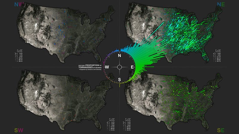Created By Datavisualization Expert John Nelson These Tornado Travel Maps Depict The Relative Proportion Of More Than 60 Years Of U S Tornadoes By Their