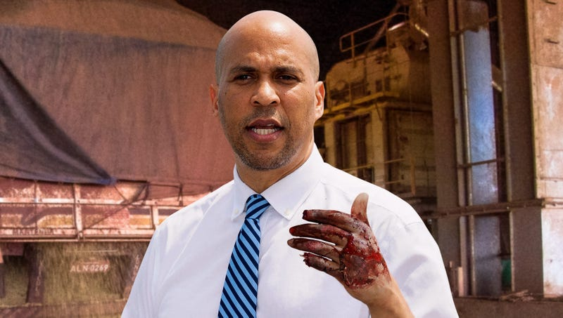 Illustration for article titled Cory Booker Tries To Relate To Rural Voters By Mangling Hand In Grain Auger
