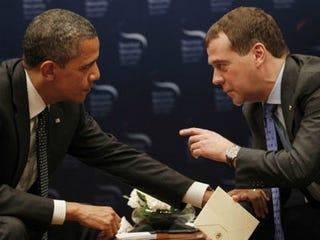 Barack Obama and Dmitry Medvedev (Pablo Martinez Monsivais / AP)
