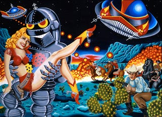 Illustration for article titled The Art of Cowboys and Killer Robots
