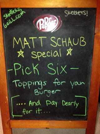 "Illustration for article titled Houston Restaurant ""Honors"" Matt Schaub With The ""Pick Six Burger"""