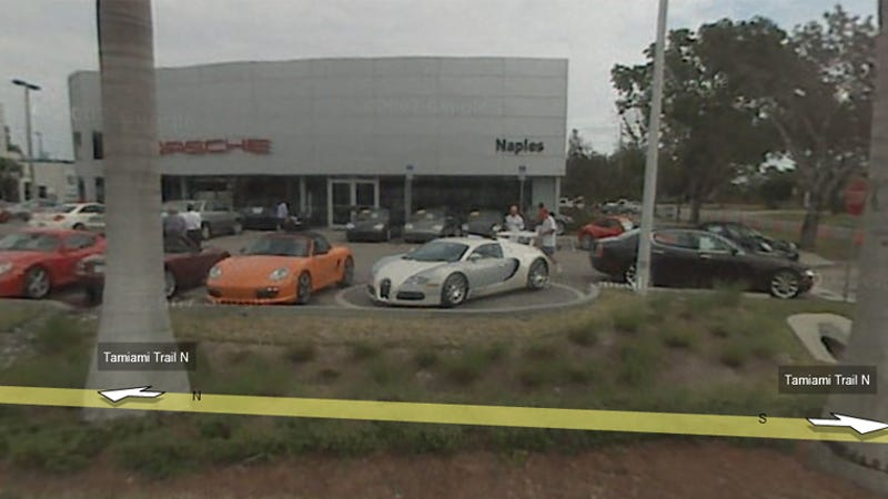 google street view catches bugatti veyron. Black Bedroom Furniture Sets. Home Design Ideas
