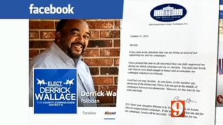 Derrick Wallace and the bogus letter he claims was sent to him by President Barack Obama WFTV-TV Screenshot