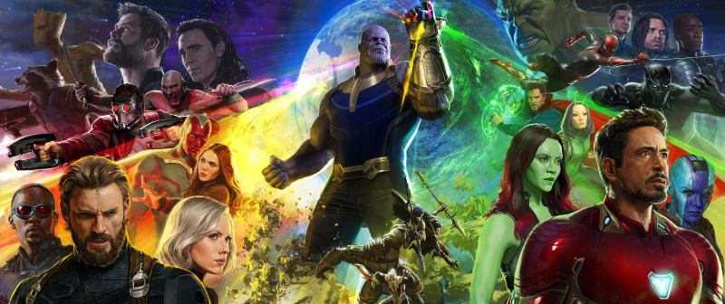 Poster art of gathered Marvel heroes (and villains) for Avengers: Infinity War