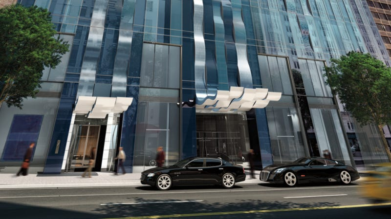 Illustration for article titled If You Want Your Building To Look Fancy Put A Maybach Exelero In Front Of It