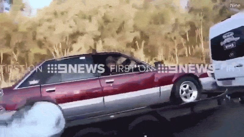 CrazyAss Aussie Hoons Do A Burnout In A Car Being Towed On A Trailer - Cool cars doing burnouts