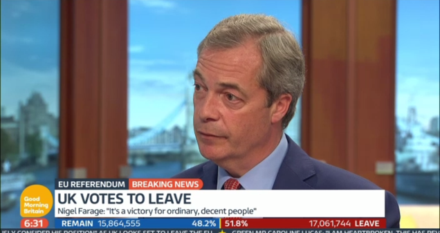 """Hours After Brexit Vote, Leader of """"Leave"""" Movement Admits One Major Promise Was a Sham"""