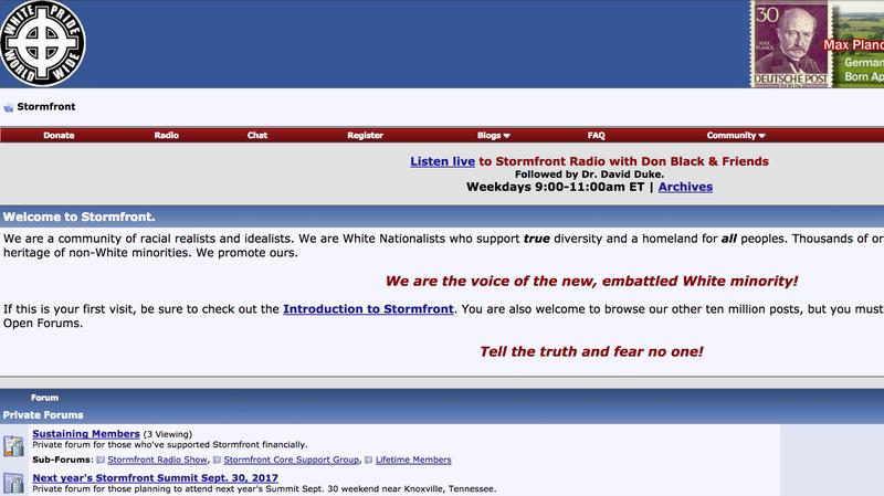 Image: Stormfront.org via Wayback Machine