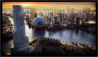 Illustration for article titled Dubai Artificial Island City Mixes Mythic Past and Future With a Death Star 3D Neighborhood for Kicks