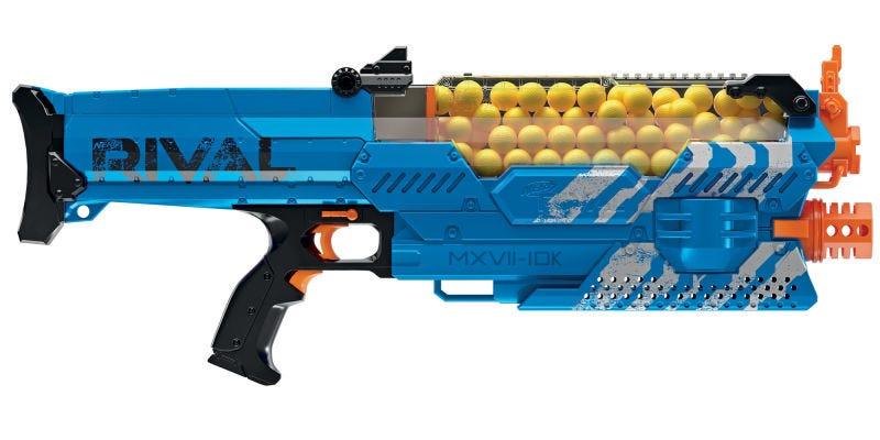 Illustration for article titled Este brutal rifle de juguete de Nerf dispara 100 bolas de espuma a 110 kmh en solo 30 segundos