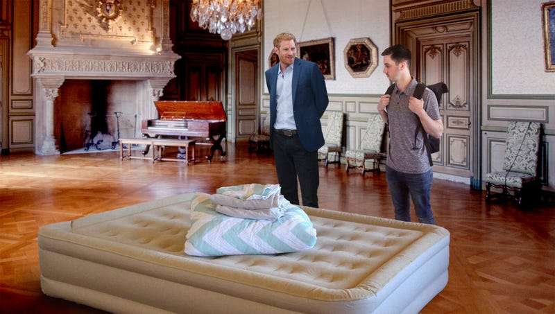 Illustration for article titled Prince Harry Shows Guest To Air Mattress In Corner Of Windsor Castle