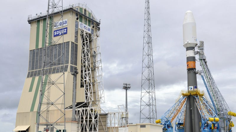 A Soyuz rocket on the pad for a joint Roscosmos-Arianespace launch at Guiana Space Center in 2011.