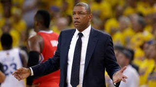 Head coach Doc Rivers of the Los Angeles Clippers questions a call during the team's game against the Golden State Warriors in Game 6 of the Western Conference Quarterfinals during the 2014 NBA Playoffs at Oracle Arena May 1, 2014, in Oakland, Calif.Ezra Shaw/Getty Images