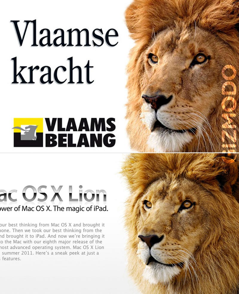 Illustration for article titled Apple's Lion Is Extreme Right Political Party's Image, Too
