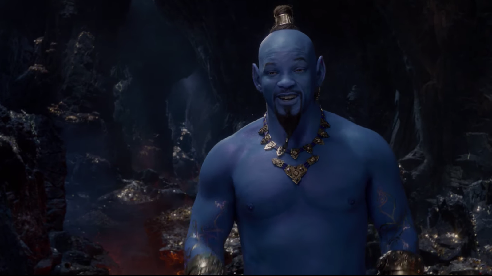 Will Smith sure is looking blue in the new Aladdin teaser