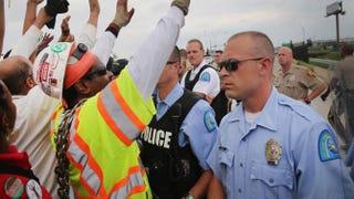 Police block demonstrators near Ferguson, Mo., on Sept. 10, 2014.Scott Olson/Getty Images