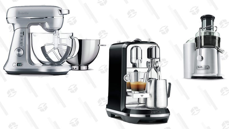 Breville Bakery Chef Stand Mixer | $187 | AmazonBreville Nespresso Creatista Single Serve Espresso Machine with Milk Auto Steam Wand | $227 | AmazonBreville  Juice Fountain Plus 850-Watt  Extractor | $94 | Amazon