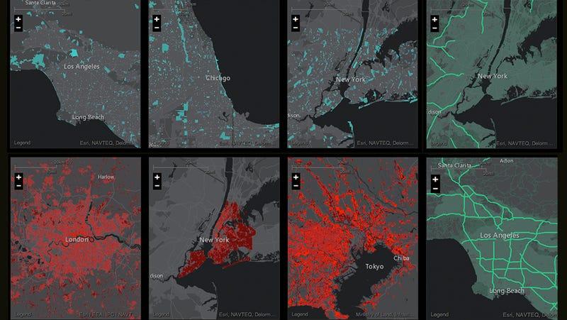 Illustration for article titled Un nuevo servicio te permite comparar ciudades mediante sus mapas