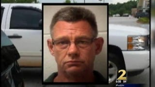 Clayton County, Ga., officer Thomas Sheats was arrested and charged in a racial road rage assault.WSB-TV 2