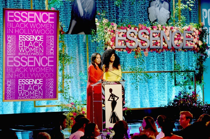 Essence Communications President Michelle Ebanks (L) and Essence Chief Content & Creative Officer Moana Luu speak onstage during the 2019 Essence Black Women in Hollywood Awards Luncheon at Regent Beverly Wilshire Hotel on February 21, 2019 in Los Angeles, California.