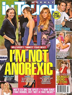 Illustration for article titled This Week In Tabloids: Aniston & Mayer Have Sex; Anorexic Stars Without Makeup