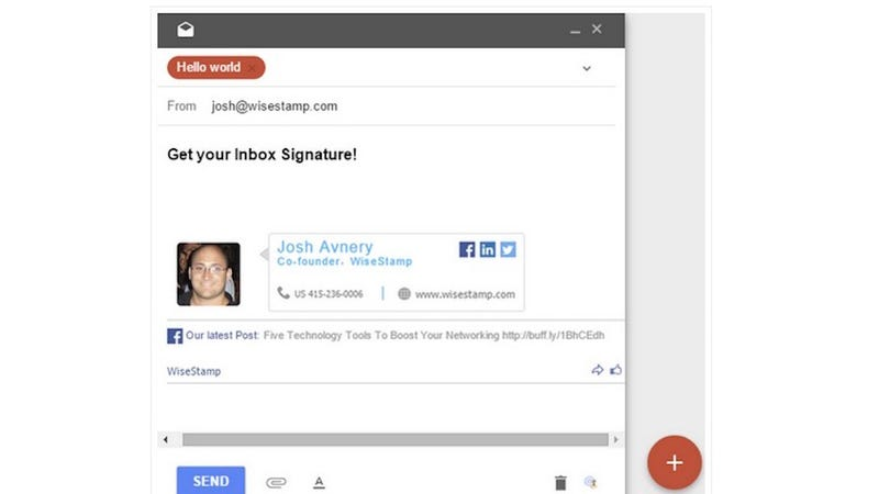 Illustration for article titled WiseStamp Adds Email Signatures to Inbox by Gmail