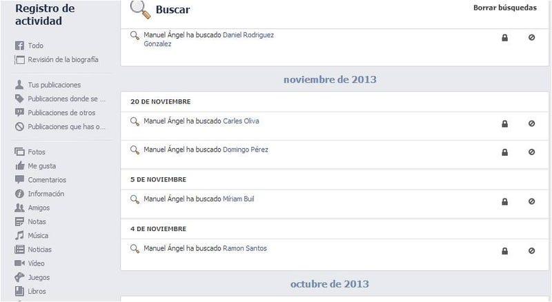 Cómo ver (y eliminar) tu historial de búsquedas en Facebook