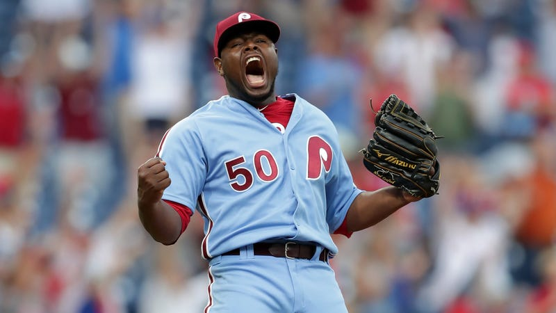 """Illustration for article titled Phillies' Hector Neris Screams """"Fuck You"""" At Dodgers Dugout After Save"""