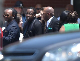 Bobby Brown attends the funeral of his daughter Bobbi Kristina Brown at St. James United Methodist Church Aug. 1, 2015, in Alpharetta, Ga.Paras Griffin/Getty Images