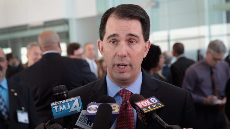 Wisconsin Governor Scott Walker speaks to the press at an event held to announce Foxconn's plan to purchase an office building from Northwestern Mutual on February 6, 2018 in Milwaukee, Wisconsin.