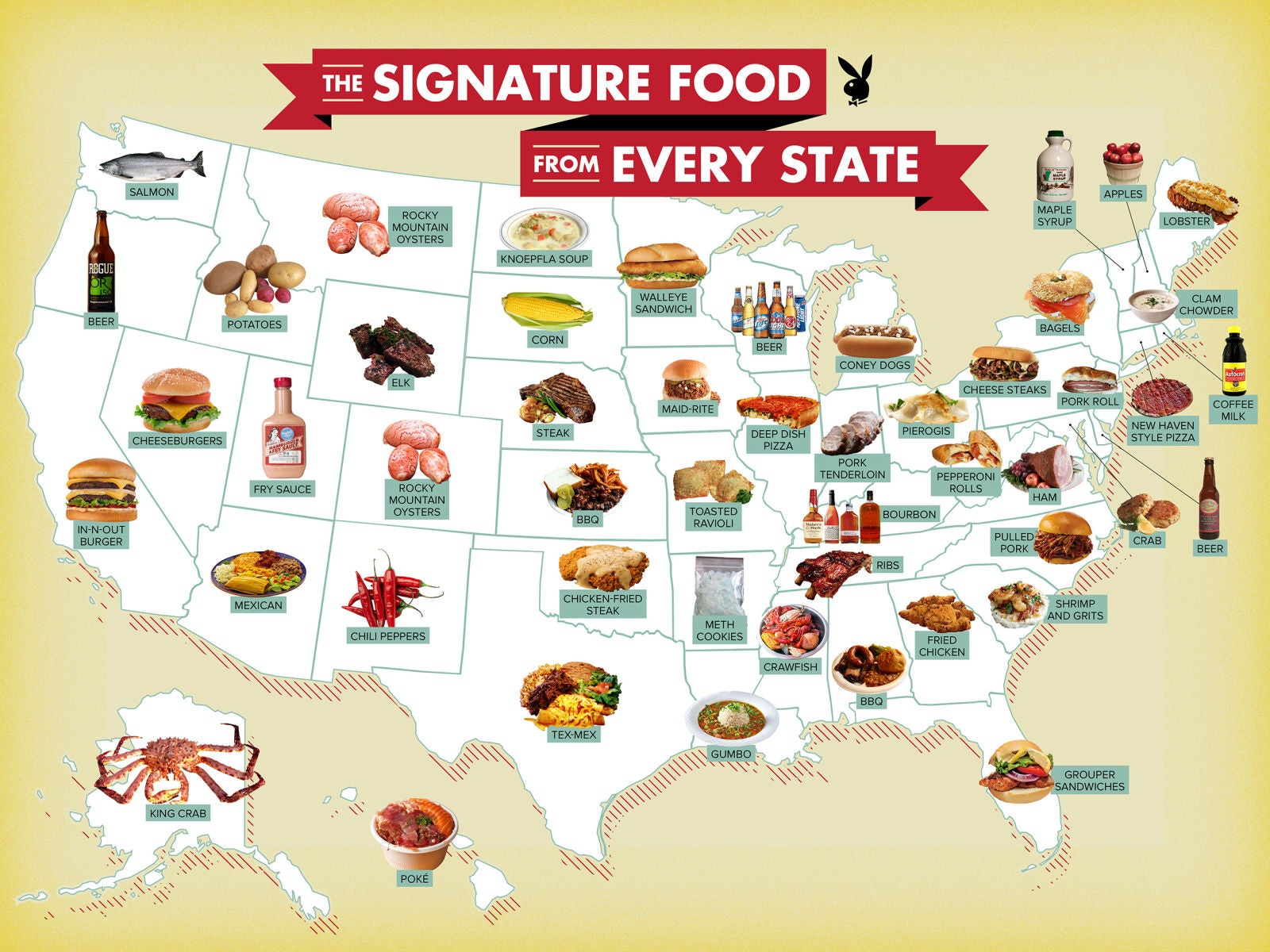 A map that shows the signature food from each state in the USA