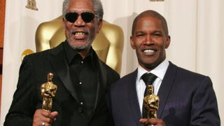 Morgan Freeman poses with his award for best supporting actor for Million Dollar Baby, and Jamie Foxx poses with his award for best actor for Ray, at the 77th Annual Academy Awards at the Kodak Theater on Feb. 27, 2005, in Hollywood, Calif.Carlo Allegri/Getty Images