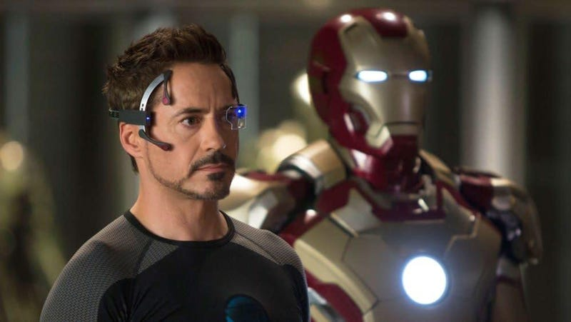 Robert Downey, Jr. and an Iron Man suit.