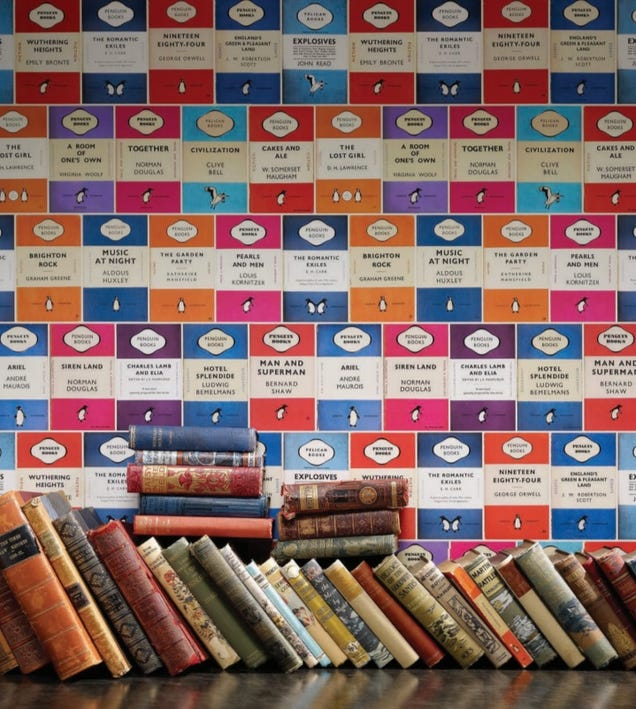 Penguin Classic Book Covers ~ Penguin book cover wallpaper lets you coat your walls in