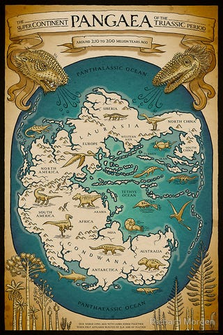 Illustration for article titled New illustrated map of the Pangaea supercontinent is right out of the Middle Ages