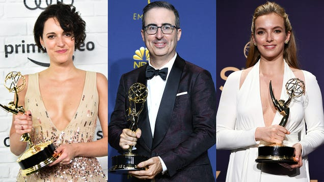 'All In Service To The Crown,' Chant Prostrate Phoebe Waller-Bridge, John Oliver, Jodie Comer Dutifully Surrendering Emmy Statuettes To Queen Elizabeth