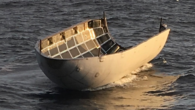 Half of the SpaceX fairing—and it's surprisingly intact despite missing the recovery net. (Image: SpaceX)