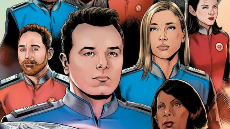 The very smooth-looking cast of The Orville, in comic-book form.