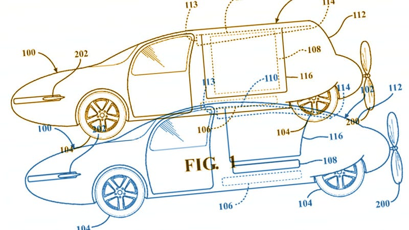 Illustration for article titled Toyota Has A Patent For A Rear-Engined Flying Car With A Shapeshifting Body And Yet The Bastards Are Still Building Camrys