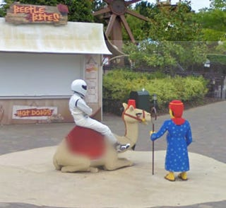 Illustration for article titled The Stig Caught By Google Street View... At LEGOLAND?