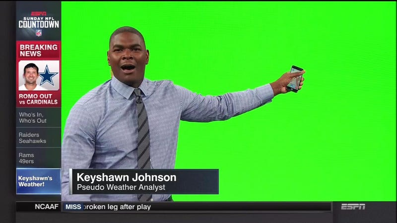 Illustration for article titled Photoshop Contest: What Is Keyshawn Johnson Standing In Front Of?