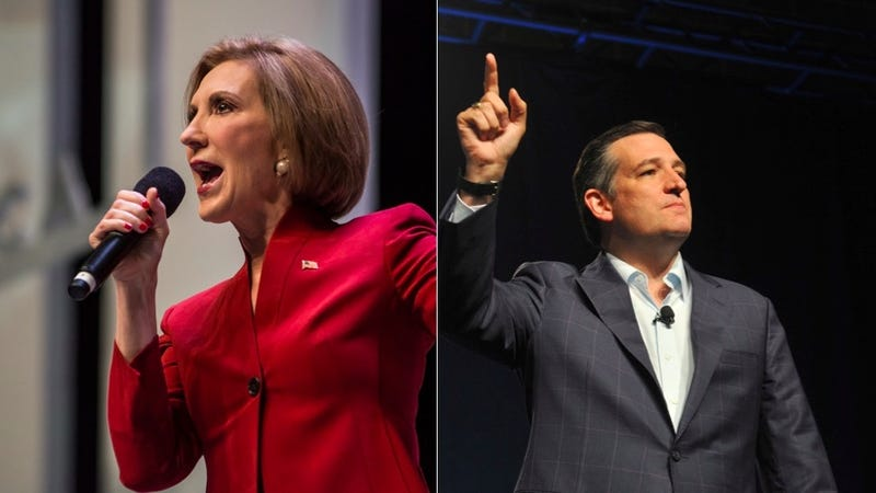 Illustration for article titled Carly Fiorina's Dogs vs. Ted Cruz's Ronald Reagan: Who Won Late Night TV?